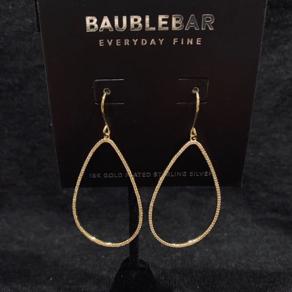 BaubleBar Jewelry - BaubleBar Sterling Silver Gold Plated Hoops.